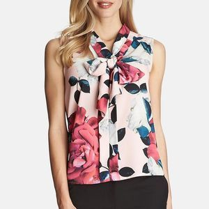 Cynthia Steffe Romantic Flower Tie Neck Blouse